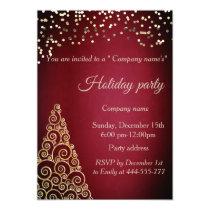 Gold confetti Christmas tree company holiday party Invitation