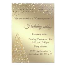 Gold confetti Christmas tree company holiday party Invitation