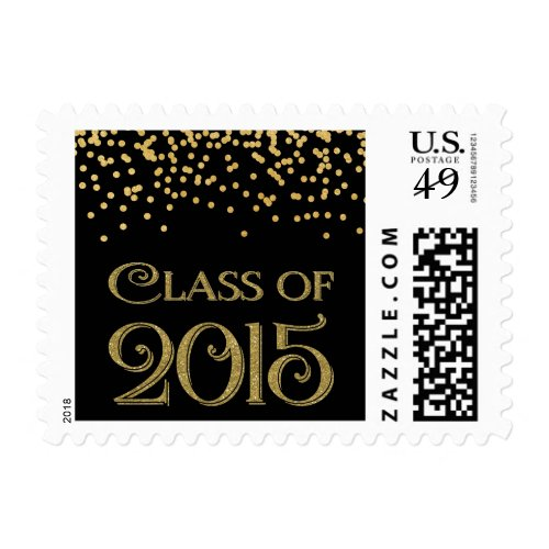 Add a 2015 postage stamp to your graduation invitations perfect gold confetti class of 2015 graduation postage filmwisefo