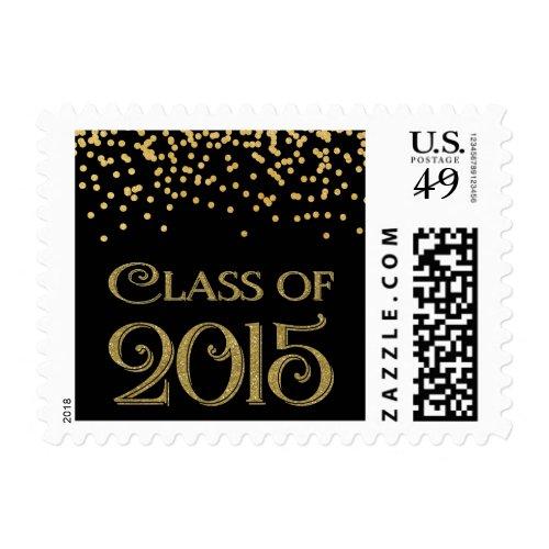 Gold Confetti Class of 2015 Graduation Postage