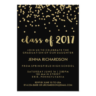 Gold Confetti Class of 2017 Graduation Party Black Card