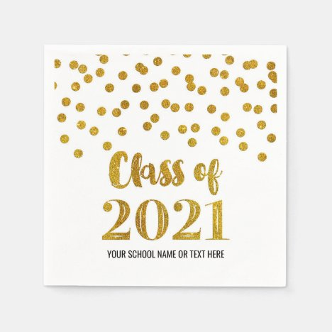 Gold Confetti Class of 2021 Graduation Napkins