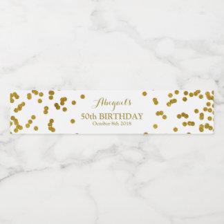 Gold Confetti Custom Birthday Water Bottle Label