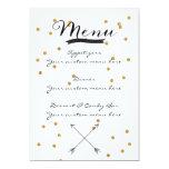 Gold Confetti Customizable Wedding Menu 5x7 Paper Invitation Card