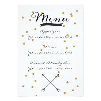 Gold Confetti Customizable Wedding Menu Card