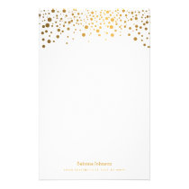 Gold Confetti Dot Print Stationery