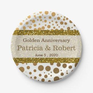 Gold Confetti Dots 50th Wedding Anniversary