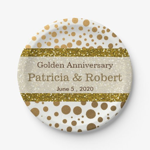 Gold Confetti Dots 50th Wedding Anniversary 7 Inch Paper Plate Zazzle