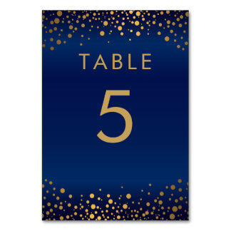 Gold Confetti Dots and Navy Blue - Table Card