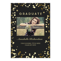 Gold Confetti Dots Black Elegant Photo Graduation Card