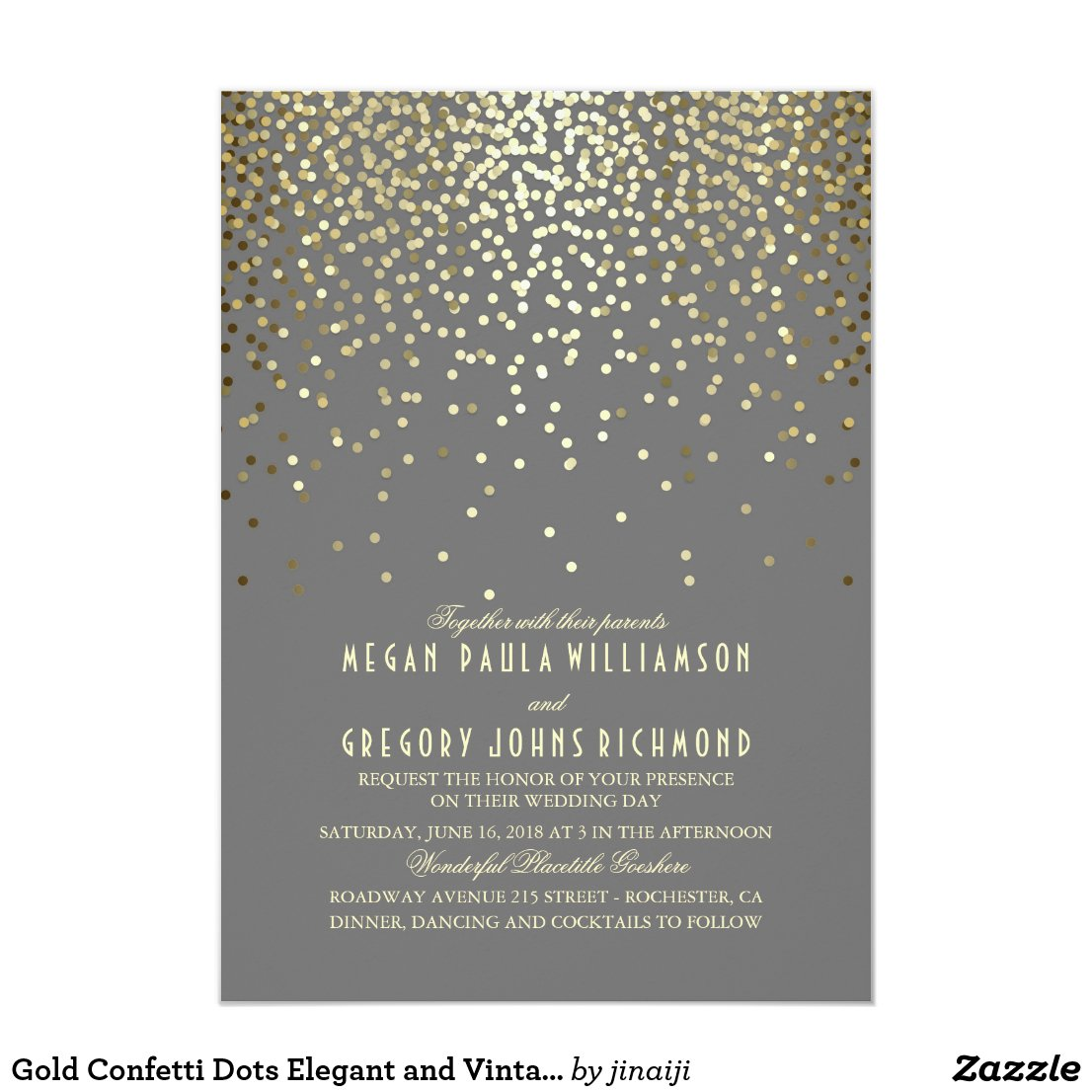 Gold Confetti Dots Elegant and Vintage Wedding Invitation
