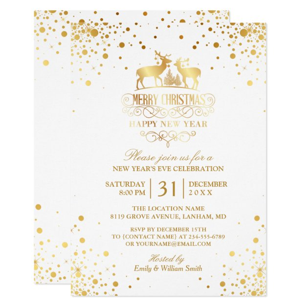Gold Confetti Dots Happy New Year's Eve Party Card