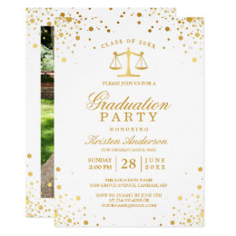 Law school graduation invitations announcements zazzle gold confetti dots law school graduation party card filmwisefo Images