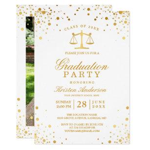Law school graduation invitations announcements zazzle gold confetti dots law school graduation party card filmwisefo Gallery