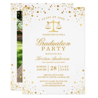 Gold Confetti Dots Law School Graduation Party Card