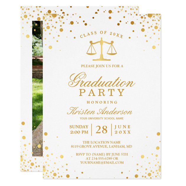 Gold Confetti Dots Law School Graduation Party Card