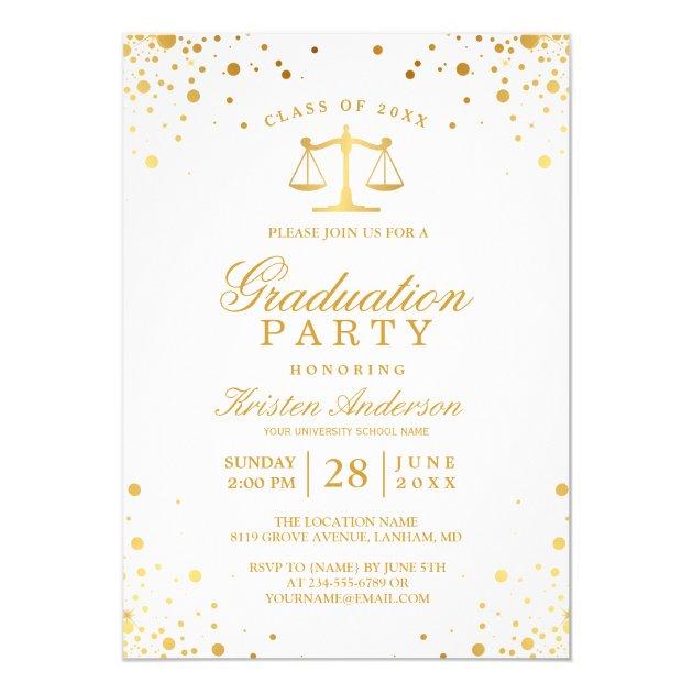 Gold Confetti Dots Law School Graduation Party Card (back side)