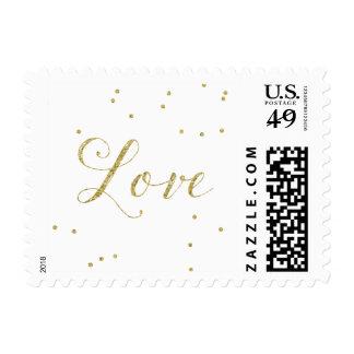 Gold Confetti Dots Love Postage