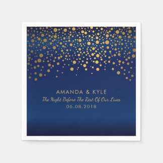 Gold Confetti Dots on Navy Blue Satin Design Napkin