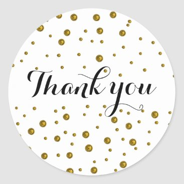 Wedding Themed Gold Confetti Dots Thank You Classic Round Sticker