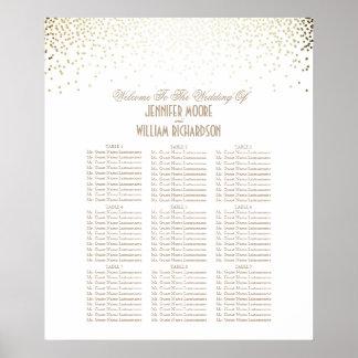 Gold Confetti Dots White Wedding Seating Chart