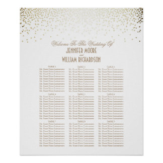 Gold Confetti Dots White Wedding Seating Chart Poster
