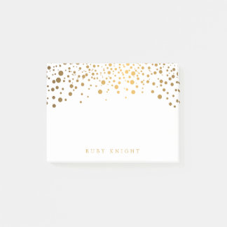 Gold Confetti Dots with Name Post-it Notes