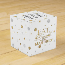 Gold Confetti Eat Drink and Be Married Favor Box