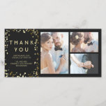 """Gold Confetti Elegant Black Wedding Thank You<br><div class=""""desc"""">The solid black and gold confetti dots wedding thank you photo cards</div>"""