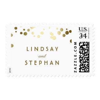 Gold Confetti Elegant Chic Wedding Postage