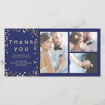"""Gold Confetti Elegant Navy Wedding Thank You<br><div class=""""desc"""">The navy blue and gold confetti dots wedding thank you photo cards</div>"""