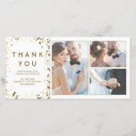 """Gold Confetti Elegant White Wedding Thank You<br><div class=""""desc"""">The white and gold confetti dots wedding thank you photo cards</div>"""