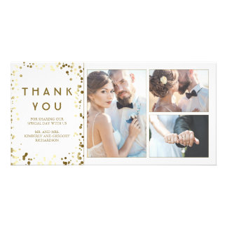 Gold Confetti Elegant White Wedding Thank You Card