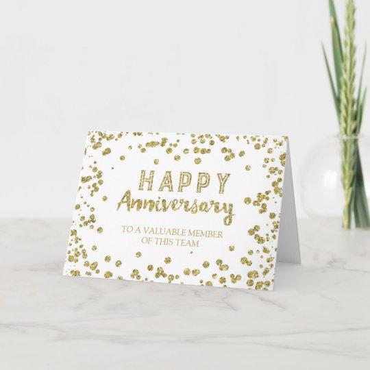 gold confetti employee anniversary card - Employee Anniversary Cards