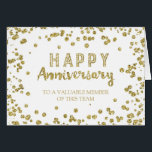 """Gold Confetti Employee Anniversary Card<br><div class=""""desc"""">Wish your employees and staff a happy anniversary with your company with this modern greeting card featuring a fun gold confetti pattern and modern handwritten style text.</div>"""