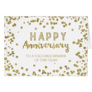 Gold Confetti Employee Anniversary Card at Zazzle