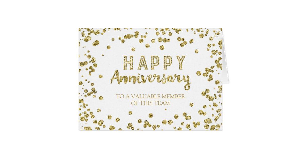 gold confetti employee anniversary card  zazzle