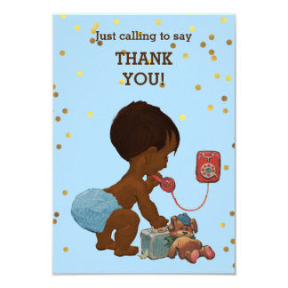 Gold Confetti Ethnic Baby Boy on Phone Thank You Card