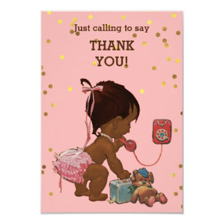 Gold Confetti Ethnic Baby Girl on Phone Thank You Card