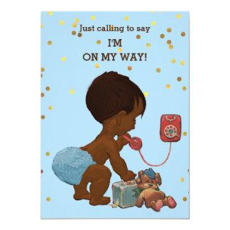 Gold Confetti Ethnic Boy on Phone Baby Shower Card