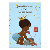 Gold Confetti Ethnic Prince on Phone Baby Shower Card