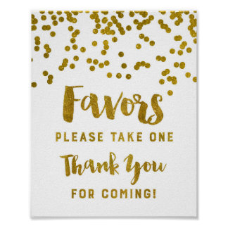 Gold Confetti Favors Sign Thank You For Coming