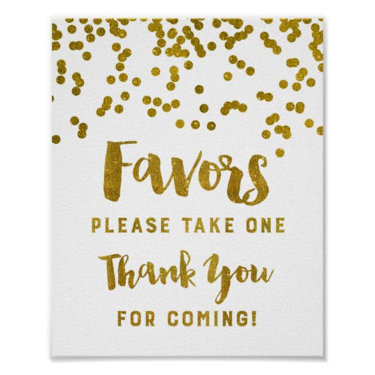 Thanks For Coming Quotes: Gold Confetti Favors Sign Thank You For Coming