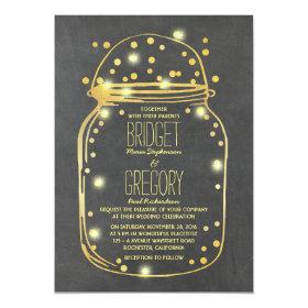 Gold Confetti Fireflies Mason Jar Wedding Invitation