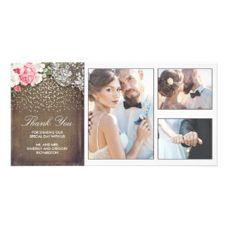 Gold Confetti Floral Lace and Burlap Wedding Card