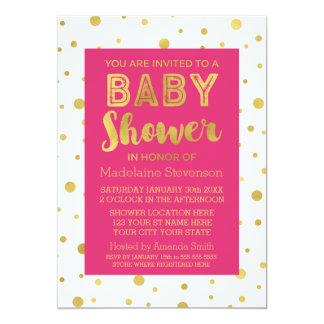 Gold Confetti Fuchsia Pink Baby Shower Invitation