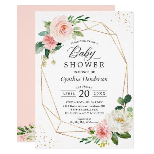Gold Confetti Geometric Blush Floral Baby Shower Invitation
