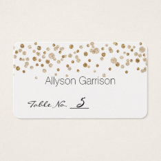 Gold Confetti Glam Glitter Wedding Table Number Business Card at Zazzle