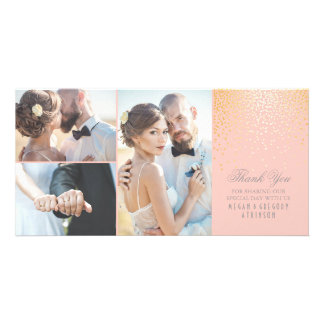 Gold Confetti Glamour Pink Wedding Thank You Card