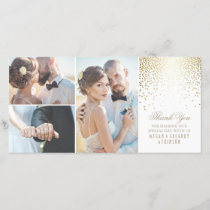 Gold Confetti Glamour White Wedding Thank You